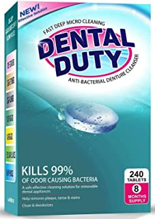 Retainer and Denture Cleaning Tablets - Cleaner Removes Bad Odor, Plaque, Stains from Dentures, Retainers, Night Guards, Mouth Guards & Removable Dental Appliances. Made in USA (8 Month Supply)