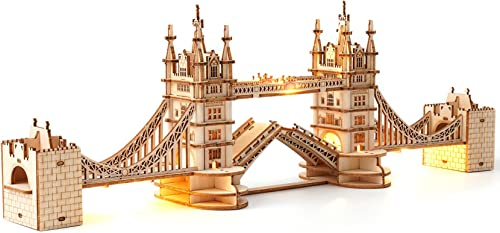 2021 Rolife 3D Wooden Puzzles outlet sale for Adults online Tower Bridge with Lights Architecture Model and Building Kit(TG412) online sale