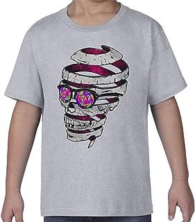 Psychedelic Trippy Skull Art Kids Crew Neck T-Shirt