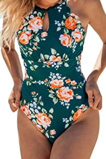 Women's Teal Floral Scalloped One Piece Swimsuit Padded Bikini
