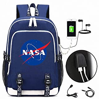 Anime Backpack, NASA USB School Backpack, Travel Canvas Daypack, with USB Charging Port and Earphone Port, Water Resistant, for Teenage Girls Boys
