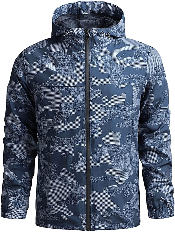 Men's Jackets Waterproof Breathable Hooded Rain Jacket Slim Fit Lightweight Windbreaker Casual Long Sleeve Travel Jacket