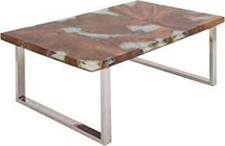 Deco 79 Stainless Steel Teak and Resin Table, Clear/Brown/Silver
