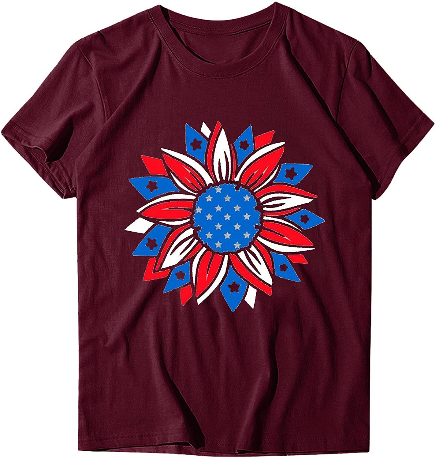 ManxiVoo Womens Tops Year-end Store annual account Casual Sunflower Shi Short Tee Sleeve Print