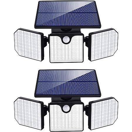 Ambaret 3 Head Motion Sensor Lights Security Outdoor Light, Adjustable 230 LED 1200LM Flood Lights Outdoor Spotlights 360° Rotatable IP65 Waterproof for Yard Garden Garage Patio,2 Pack