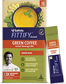 Saffola FITTIFY Gourmet Green Coffee Instant Beverage Mix for Weight Management – 30g (Ginger Basil, 15 Sachets)