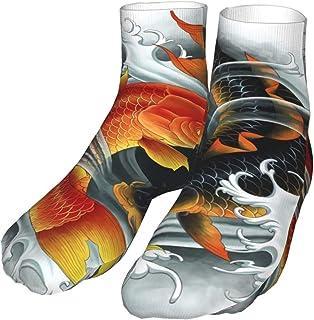 TongGuYunShangMaoYouXianGongSi, Calcetines Calcetín Dos Carpas Koi Asiáticas Con Tatuaje Tradicional Símbolo Suerte Compresión Agua Calcetines Altos 30CM