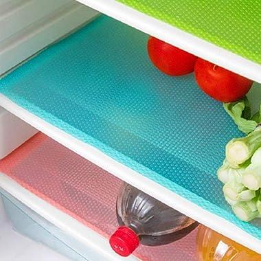 AKINLY 9 Pack Refrigerator Mats,Washable Fridge Mats Liners Waterproof Fridge Pads Mat Shelves Drawer Table Mats Refrigerator Liners for Shelves,3Red/3Green/3Blue