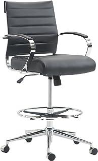 EdgeMod Tremaine Drafting Chair in Vegan Leather, Black