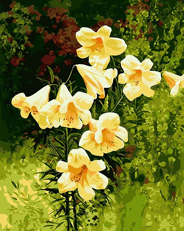 YEESAM ART New DIY Paint by Number Kits for Adults Kids Beginner - Yellow Flowers 16x20 inch Linen Canvas - Stress Less Number Painting Gifts (with Frame)
