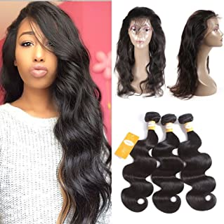 Ossilee Hair 10A Grade 360 Lace Frontal Closure with Bundles Malaysian Body Wave Hair Bundles with 360 Lace Frontal Unprocessed Human Hair Bundles with Frontal (12 14 16+10 360frontal, Natural Color)