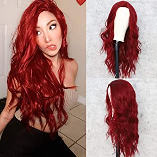 Sapphirewigs Natural Red Hair No-Lace Wavy Big Curly Wig Synthetic Natural Looking Heat Resistant Fiber Hair for Girls Women