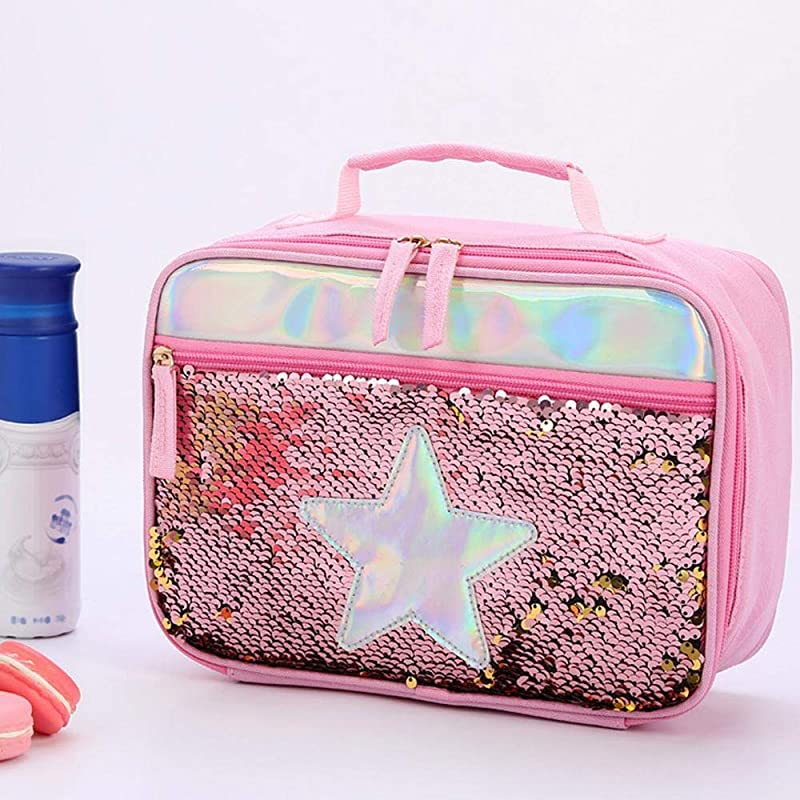 Perfuw Sequin Lunch Box For Girls Reversible Sequin Flip Insulated School Lunch Bag Lunch Tote Insulated Quick And Simple Organization Perfect For Working Women Or Kids