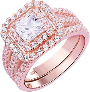 Newshe Engagement Rings Wedding Sets for Women 925 Sterling Silver Rose Gold Princess White Cz 5-10