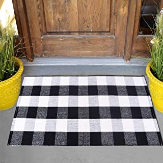 Carvapet Buffalo Plaid Rugs Black and White Checkered Rug Welcome Door Mat Washable Throw Entry Way Mat for Indoor and Outdoor, 24