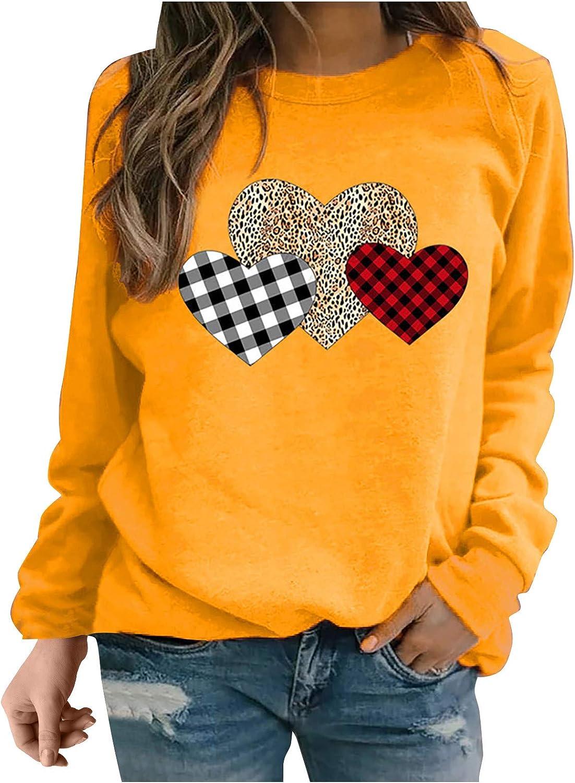 FABIURT Valentines Pullover Sweatshirts for Women,Womens Fashion Long Sleeve Leopard Printed Crewneck Casual Shirts Tops