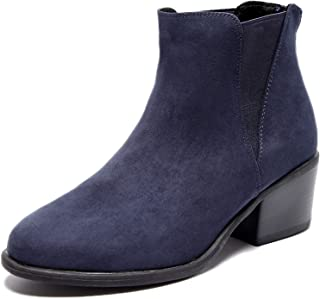 Women's Wide Width Ankle Boots, Classic Mid Heel Back Zipper Cozy Comfortable Chelsea Booties.