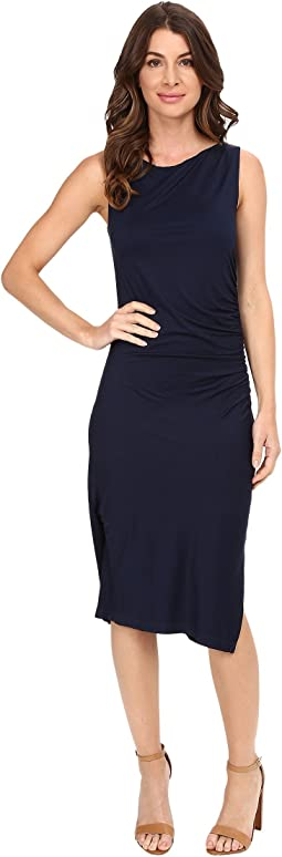 Sleeveless Dress with Side Shirring A