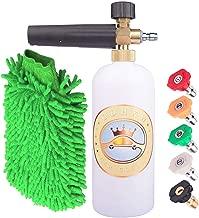 GDHXW X-778 Adjustable Foam Cannon 33 oz. (1 Liter) Bottle Snow Foam Spray Gun, 1/4 Fast Connector Foam Burst Device, 5 Pressure Cleaning nozzles, Cleaning Gloves.