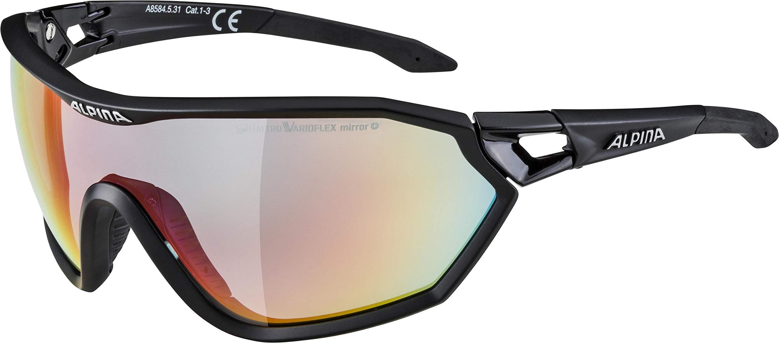 ALPINA Unisex - Erwachsene, S-WAY QV Sportbrille, black matt, One Size