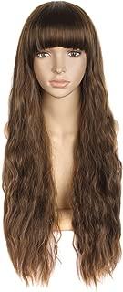MapofBeauty 28 Inch/70cm Beautiful Women's Flat Bang Long Wave Curly Wig (Brown)