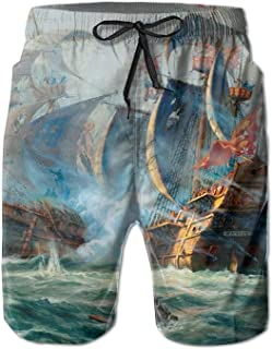 Men Art Ships Sailing Battle Ocean Painting Ship Fashion Beach Pant Tide Stamp Shorts
