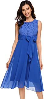 Women's Elegant Lace Chiffon Patchwork Dress Sleeveless Fit Flare Wedding Evening Party Dress