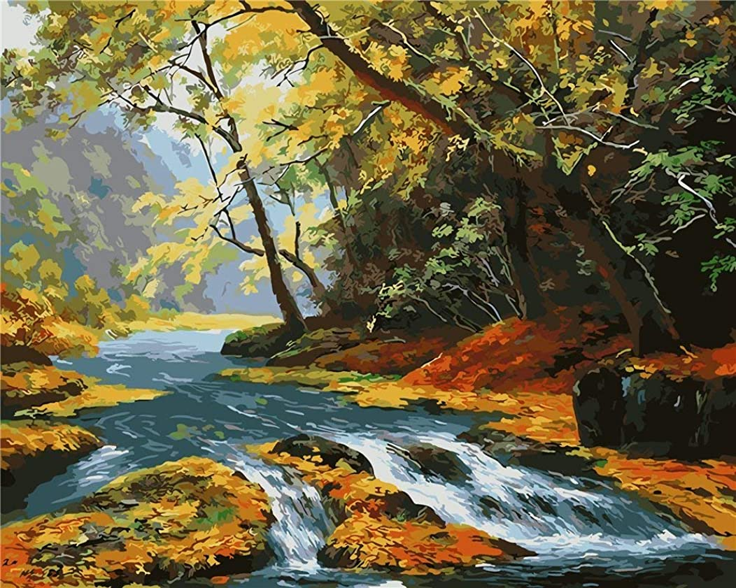 DIY oil Painting by Numbers kit 16x20 for Adults Beginner Children, CaptainCrafts New Creative DIY digital oil painting Kids LINEN Canvas - Autumn Scenery, Mountain Forest River (Frameless)