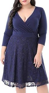 Nemidor Women's V-Neckline 3/4 Sleeves Stretchy Plus Size Cocktail Party Midi Dress