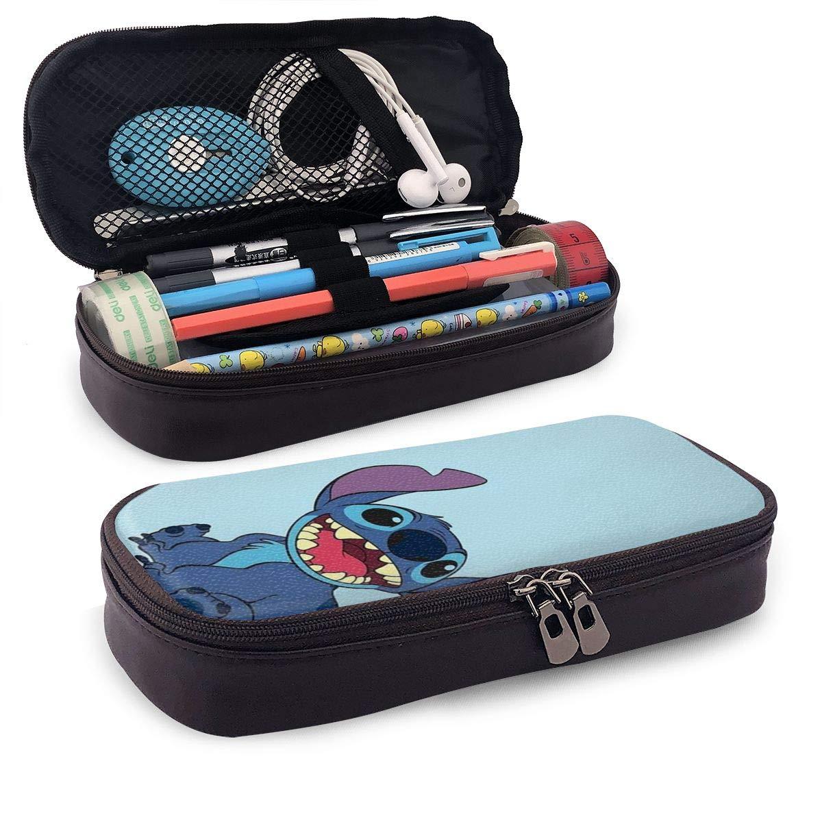 Estuche para lápices Lilo y Stitch de gran capacidad, bolsa de maquillaje, bolsa de papelería, con doble cremallera para la escuela/oficina: Amazon.es: Oficina y papelería