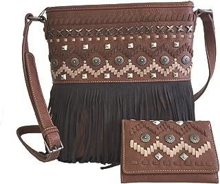 American Bling Concealed Gun Messenger Purse Wallet Set Fringe Aztec Design Brown