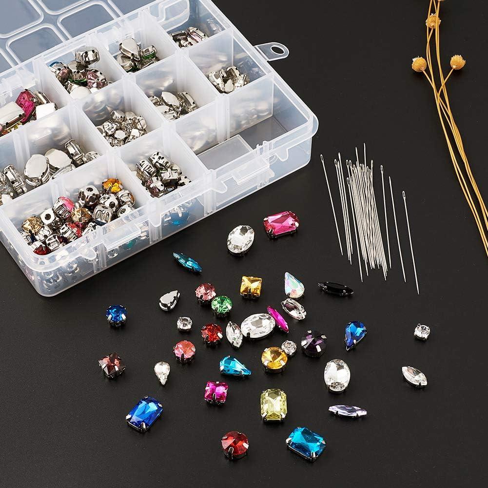 v/êtements Cheriswelry Lot de 260 strass /à coudre en verre avec aiguilles /à coudre pour travaux manuels sacs robes