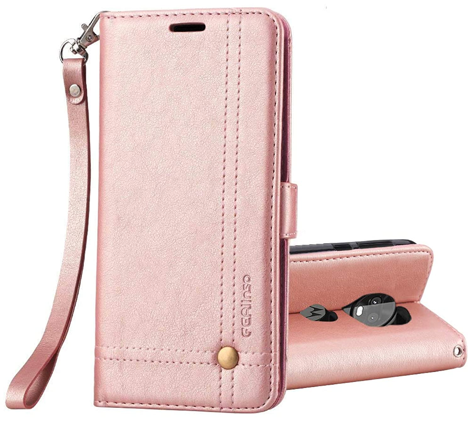 Moto X4 Case, Ferlinso Elegant Retro Leather with ID Credit Card Slot Holder Flip Cover Stand Magnetic Closure Case for Moto X4-Rose Gold