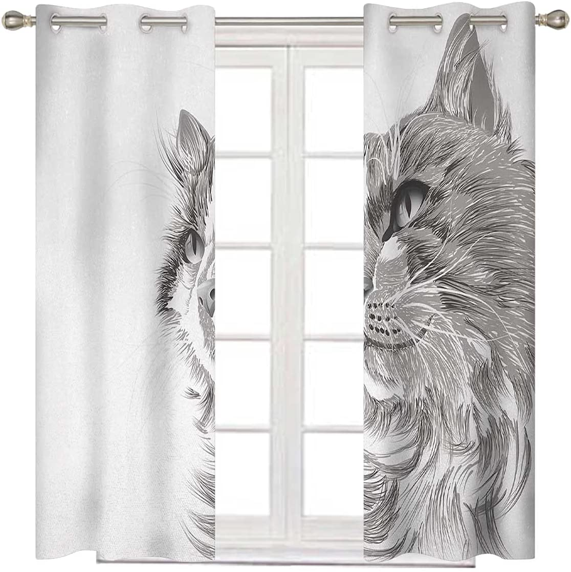 NEW Sales before selling Animal Bedroom Blackout Curtains 72 Blac Long Inches White Grey