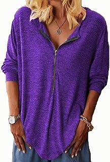 Hong Yi Fei-Shop Women Zipper Up Tunic Top Tee Shirts, Womens V Neck Long Sleeve Casual Henley Tops Blouse T-Shirt Polos (...