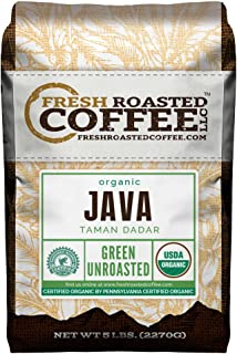 Fresh Roasted Coffee LLC, Green Unroasted Java Taman Dadar Coffee Beans, USDA Organic, RFA, 5 Pound Bag