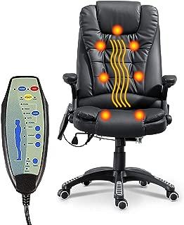 Heated Office Massage Chair-High-Back PU Leather Adjustable Height & Armrest Executive Ergonomic Heated Vibrating Chair (Black)