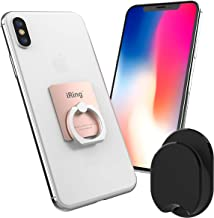 iRing with Hook for car or Wall mounting. Original AAUXX Cell Phone Grip Finger Holder, Mobile Stand, Kickstand, Car Mount Cradle for iPhone, Samsung, Android, Smartphones, Tablets.(Rose Gold)
