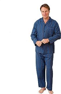 Mens Brushed Cotton Stripe Long Pyjama Set Winceyette Classic Pattern Casual Wear Night Dress Sleepwear Boys 4 Button Nigh...