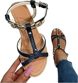 UULIKE Femme Plates Sandales Ete,Été Mode Loisirs Plateforme Chaîne Cuir Épissage Évider Chaussures,Bout Ouvert Confort Sa...