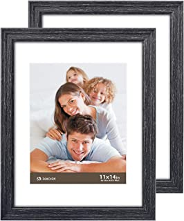 11 X 14 Picture Frames 2 Pack Rustic Style Wood Pattern High Definition Glass Photo Frames with Easels Made for Wall and Tabletop Black Wood