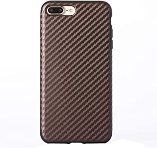 QFH For iPhone 8 Plus & 7 Plus Artistic Carbon Fibre Texture Soft TPU Protective Back Case(Black) new style phone case (Color : Coffee)