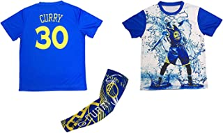 Steph Curry T-shirt Kids Youth Size Basketball Arm Sleeve Curry 30 Bag