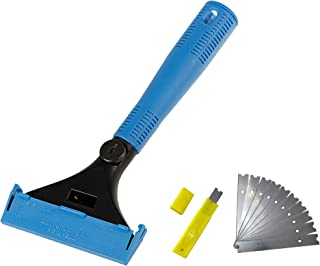 KLHB-YF Wallpaper Scraper Tool,4-Inch Heavy Duty Stainless Steel Blade,9-Inch Blue Plastic Handle Wall Cleaning Tools with 10 Pieces Replacement Blades (Blue)