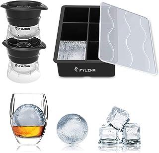 FYLINA 製氷皿 製氷器 シリコン製 蓋付き まる氷アイストレー 6個角形や2個大ボール(2セット)製氷器 お茶やお酒用氷が作れる製氷皿 直径6/4.7cm (ブラック)