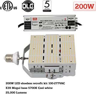 200W Shoebox LED Retrofit Kit, 5700K E39 Mogul Base 29,000 LM(800W MH/HPS Replacement) Bright White Parking Lot Lights 100-277V for Canopy Street Area Stadium Cobra Head Pole Lighting Fixtures ETL DLC