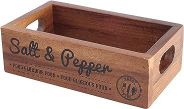 T&G Woodware 'Food Glorious Food' Salt & Pepper Acacia Crate Storage Box