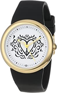 "PeaceLove Unisex F36G-PL-B Round Gold Tone Black Silicone Strap and""Clark"" Art Dial Watch"