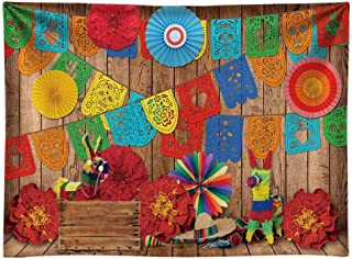 Funnytree 8x6FT Soft Fabric Mexican Fiesta Theme Photography Backdrop for Birthday Carnival Party Decoration Supplies Flow...