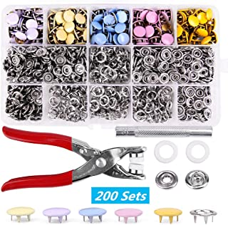 200 Sets Snap Fasteners Kit Tool, Metal Snap Buttons Rings with Fastener Pliers Press Tool Kit for Clothing 5 Colors(10 mm,solid, multicolor)